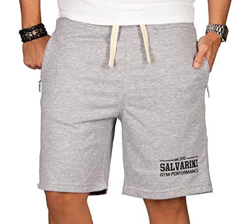 A. Salvarini Herren Sport Jogging Short Fitness Kurze Hose Trainingshose AS130 [AS-130-Grau-Gr.3XL] - Baumwolle Sweat Short
