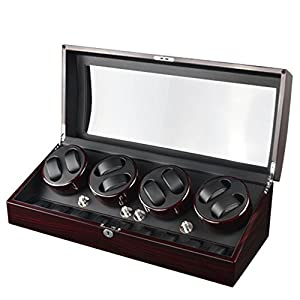 XTELARY Luxury Automatic Watch Winder Display Box Case 8+9 Storage Black Leather with 4 Mode Timer Function [Wood shell + Leather Pillow + Piano Paint + Tempered Glass]Safelty Lock & Key