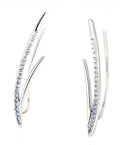 SaySure - Silver Climber Ear Cuff Earrings for Women Blue White