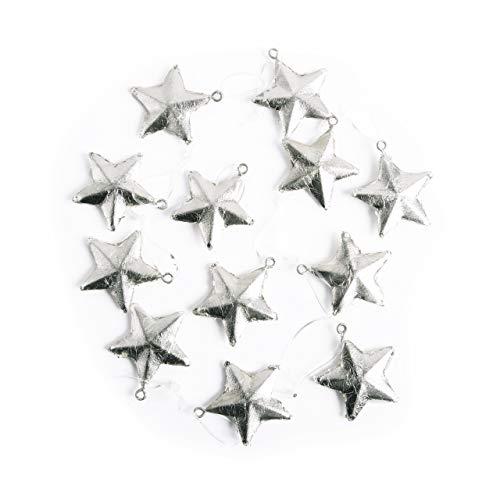 12 kleine SILBER-farbene STERNE Anhänger 4 cm Metall-Sterne Blech Weihnachtsstern Weihnachtsanhänger Christbaumschmuck Geschenkanhänger Hänger Baum
