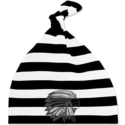 Up to Date Baby - Indianer Häuptling Handzeichnung - Unisize - Schwarz/Weiß - BZ15S - gestreifte Baby Mütze mit Knoten / Bommel für Jungen und Mädchen Weiße Indianer-häuptling Hat