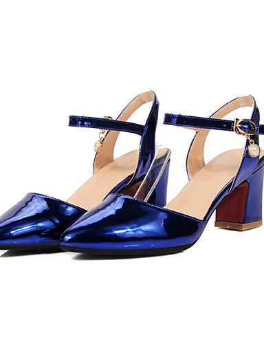 WSS 2016 Chaussures Femme-Habillé / Décontracté-Bleu / Rose / Champagne-Gros Talon-Talons / Bout Pointu / Bride de Cheville-Talons-Similicuir blue-us5.5 / eu36 / uk3.5 / cn35