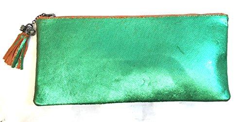 Borsa Pochette Busta a mano Donna in vera pelle 100% Made in Italy Verde