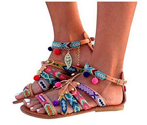 Evedaily donna sandali estate boemo stile etnico sfera ricamata fibbia sandali piatti con cinturini colorati open toe sandali (multicolore, 38)