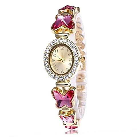 Bijoux Bijoux Femme Bracelets 4 Couleur rétro papillon cristal verre bracelet montre 24cm rose red