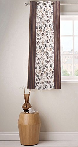 Fabutex Beautiful Printed Brown Polyester 4 x 5 Feet Designer Window Curtain Pack of 1  available at amazon for Rs.199