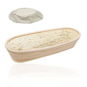 Banneton Proofing Basket, Bread Proofing Brotform, YOCZOX Oval Dough Rising, Sour Dough Proofing, Artisan Bread, 8mm 100% Natural Indonesian Rattan Proving Basket for pastry & dough, 35 x 15 x 7cm, Hold 1000g dough, With Linen liner, 14 Inch