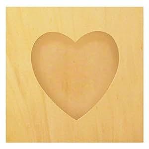 cadre photo en bois brut d corer carr avec d coupe coeur 20x20cm support bois peindre. Black Bedroom Furniture Sets. Home Design Ideas