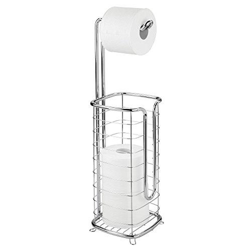 Mdesign porta carta igienica da terra – pratico portarotolo carta igienica – elegante piantana bagno per carta igienica – argento