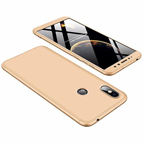DESCHE Funda Xiaomi Redmi S2 Oro PC Duro 360 Grados Cuerpo Completo Cubierta Protectora Ultrafino Anti-rasguños Parachoque Mate Phone Case 3 in 1 Oro