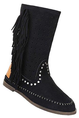 Damen Stiefel Schuhe Perforierte Boots Fransen Schwarz Camel 36 37 38 39 40 41 Schwarz
