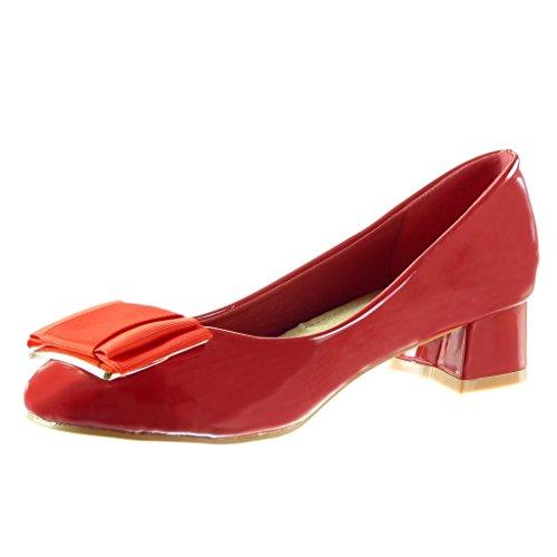 Angkorly - damen Schuhe Pumpe - Slip-On - Dekollete - Knoten - Patent Blockabsatz high heel 4 CM Rot