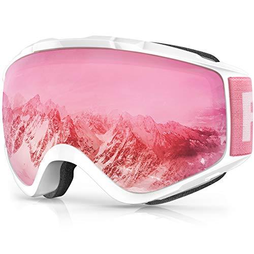 findway Skibrille, Snowboard Brille für Brillenträger Herren Damen Erwachsene Jugendliche OTG UV-Schutz Kompatibler Helm Anti Fog Skibrillen Sphärisch Verspiegelt (Rosa/Silber (VLT 28{cebe0673e0701791145d70b758d875e86ca01e5bc5410a1384ba942013b2ed38}))