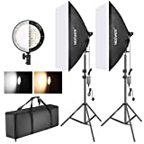 Neewer Photography Bi-color Dimmable LED Softbox Lighting Kit:20x27 inches Studio Softbox 45W Dimmable