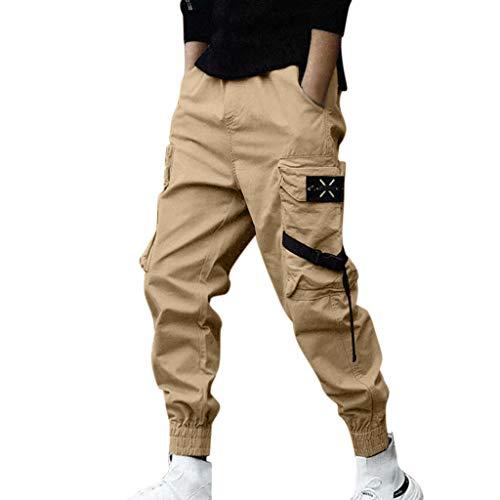 Pantaloni cargo uomo, pantaloni sport casuali moda da strada urbana per adolescenti e giovani ragazzi, pantaloni mimetici sciolto stile hip hop contrasto colore - design originale