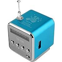 Beatie Reproductor De Musica,Tarjeta Micro Portátil SD-TF-USB-Mini Reproductor De Música Estéreo para Subwoofer Radio FM Coche Doméstico