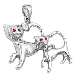 Unbespielt Kettenanhänger Silberanhänger für Halskette Unisex 2 Katzen rhodiniert 925 Silber 27 x 25 mm inkl. kleiner Schmuckbox