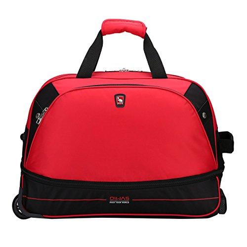 OIWAS rote Reisetasche mit Rollen Trolleyfunktion erweiterbares Business Trolley Handgepäck 55L Plus 10L für Damen und Herren