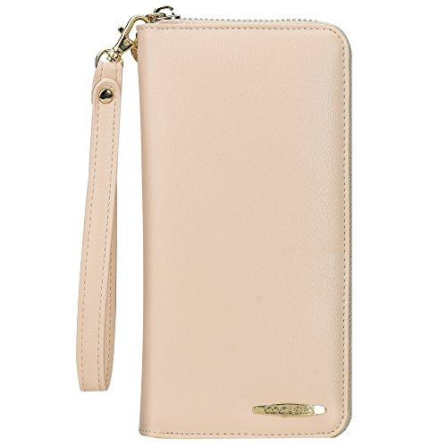 COCASES Damen Portemonnaie, Elegant Kunstleder Geldbörse Geldbeutel und Handytasche in einem Beige Creme
