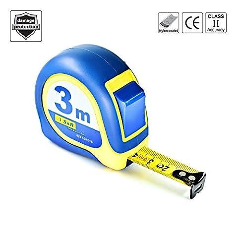S&R Pocket measure tape 3m x 16mm, Nylon Coated, impact-resistant housing - Mustang Serie