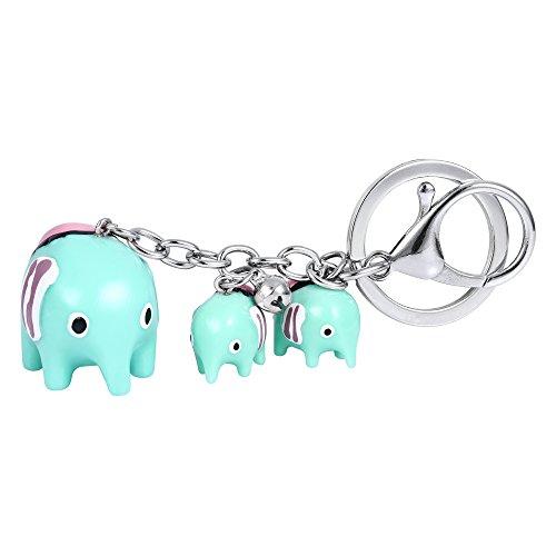 Clearine Mujer Amable Mini Tres Elefantes Grande Y Pequeño Llavero Verde Tono-Plata