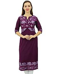 Indian womens clothing elegant long tunic top Bollywood party kaftan Kurti 7017