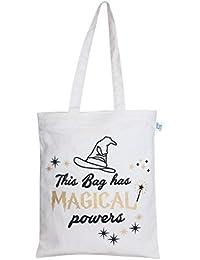 "EcoRight Reusable 100% Cotton EcoFriendly Zipper Tote Bag Printed ""Magical Powers"""