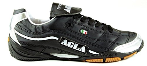 Agla Evolution Top 1 Scarpe Da Futsal Indoor, Nero/Argento, 27.5 cm/43