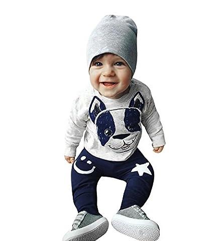 Rosennie 2Pcs Baby Jungen Mädchen Outfit Niedlich Cartoon Hund Langarm Kapuzenpullover Tops Hose Kleinkind Kleider Set Babykleidung (12 Monate Alt, Grau)