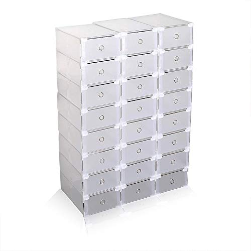 AlRight Chaussures Boîte - Lot de 24 Boîtes de Rangement à Chaussures Pliables et Empilables - Tiroirs en Plastique Transparent - Rangements Imperméables pour Les Chaussures