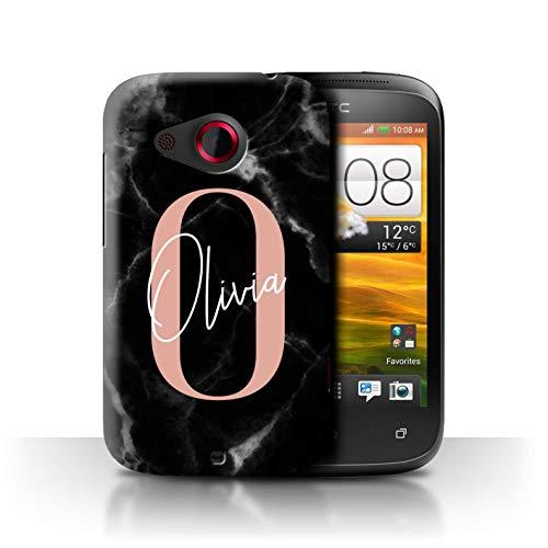 eSwish Personalisiert Individuell Marmor Initialen Handschrift Hülle für HTC Desire C/Schwarz Roségold Rosa Buchstabe Design/Initiale/Name/Text Schutzhülle/Case/Etui (Stuff Buchstabe C)