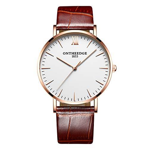 Ssq-cxo orologio da polso casual da uomo, moda semplice design minerale minerale temperato specchio cinturino in acciaio inossidabile quarzo impermeabile da polso orologi in oro rosa bianca