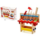 Emob Wooden Classic Multifunctional Work Bench Tool Kit Pretend Play Toy For Kids
