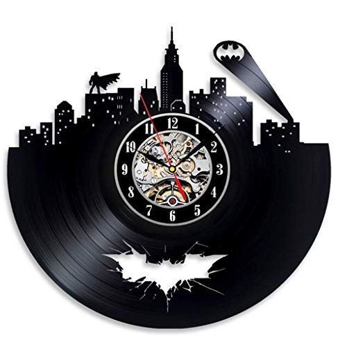 Vinyl Evolution Batman Arkham City Logo Beste Wanduhr - Dekorieren Sie Ihr Zuhause mit moderner, großer Superheld-Kunst - Geschenke für Freunde, Männer und Jungen (Farbe: A, Größe: 30 cm) (Die Evolution Von Batman)