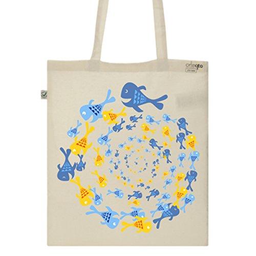 Tote Bag Imprimé Ecru - Toile en coton bio - Spirale aquatique