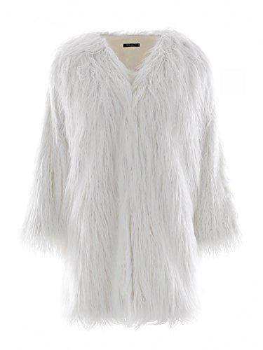 Simplee Apparel Damen Faux Fur Jacek Winter Elegant Lang Warm Kunstfell Jacke Mantel Coat Weiß (Weiße Mantel Jacke)
