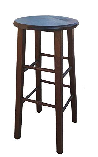 Sitzhocker aus Holz mit runder Sitzfläche Farbe dunkler Nussbaum, mit geraden Beinen, montiert Höhe vom Boden bis zur Sitzfläche 68 cm - Esszimmer Nussbaum Barhocker