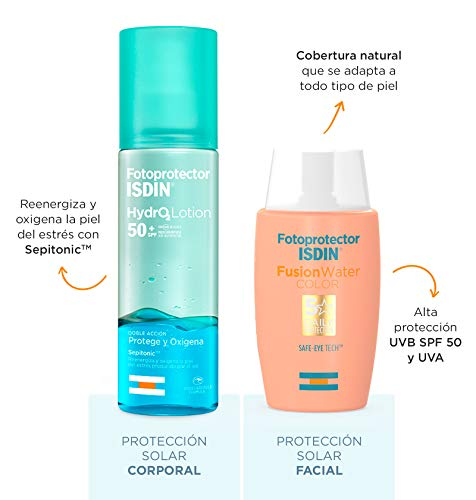 ISDIN PACK  Protector Solar Facial Fusion Water Color SPF 50+ | Protector Solar Corporal Bifásico ISDIN HydroLotion SPF50+