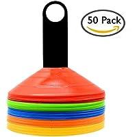 Juego de conos para practicar deporte. 50 unidades de conos de disco para marcar distancias o áreas, para fútbol, rugby, baloncesto o entrenamientos; con soporte y bolsa de red