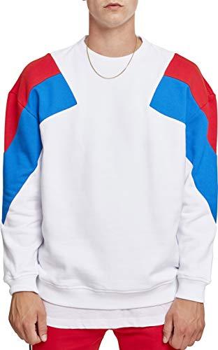 Urban Classics Herren Sweatshirt Oversize 3-Tone Crew, Mehrfarbig (Wht/Brightblue/Firered 01462), L - Retro-sweatshirt