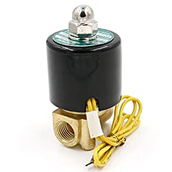 Heschen Brass Electric Solenoid Valve 1/4 Inch DC 12V Direct Action Water Air Gas Normally Closed Replacement Valve