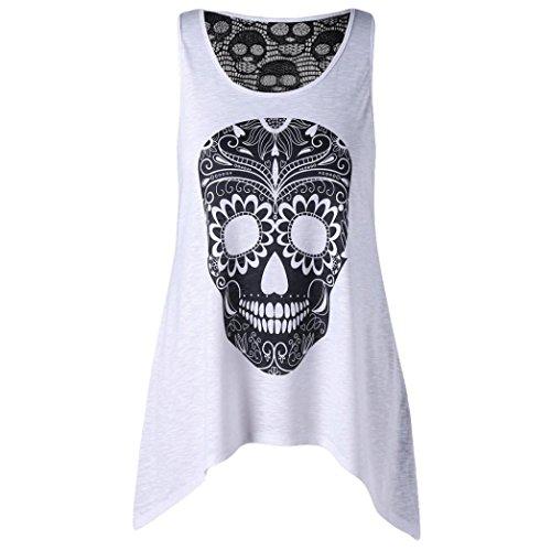 Tshirt Oberteile Damen Elegant Sommer Schulterfrei Lace Vest mit Totenkopf Aufdruck Camisole Cotton Ärmellos T-Shirt (Weiss, XL)