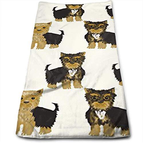 Suehome Handtücher,Geschirrtücher, Yorkshire Terrier Cute Yorkie Dog Pet Soft Cotton Large Hand Towel- Multipurpose Bathroom Towels for Hand, Face, Gym and Spa -