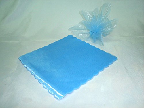 50 x velo veli di fata tulle organza quadrato veletti bomboniere fai da te confetti azzurro themagicfour®