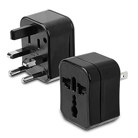 Incutex 1x adaptateur de voyage compact 3 parties adaptateur universel de voyage adaptateur international, noir