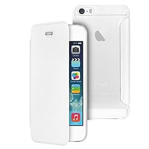 MOXIE Étui ultra fin Folio Cover Blanc pour iPhone 5/5S