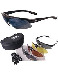 Aviate PILOT Sonnenbrille mit Sehstärke Optionen und Wechselgläser (x 4: gelb, rot und grau verspiegelt). UV schutz 400