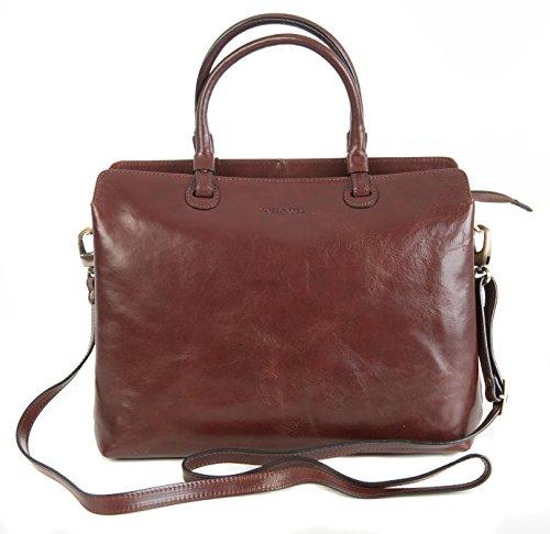 Gianni Conti, in pelle italiana di colore marrone scuro, borsetta 903662 a 3 scomparti