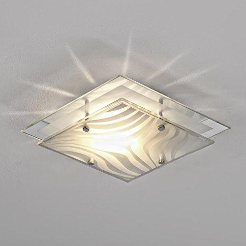 Plafoniera da Soffitto con Bordo a Specchio Cromato, 24 x 24 cm, con 1 Lampadina E 27 / 60W / 230V
