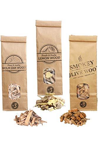 Smokey Olive Wood SOW 3X 500mL Selezione di cippati di Legno olivo leccio e Limone. Dimensione Nº3 2 3 HLV3 03 0.5L